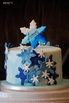 A simple and elegant winter themed birthday cake